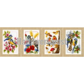 borduurpakket vier seizoenen, vogels vierluik