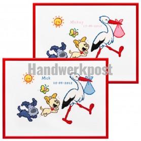borduurpakket woezel&pip, geb. ooievaar (incl. blauw/rose garen)
