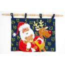 kruissteekwandkleed kerstman, rendier met cadeaus...