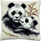 kruissteekkussen panda met jong