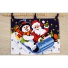 kruissteekwandkleed kerstman en sneeuwpop op de slee…