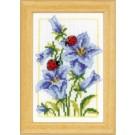 borduurpakket blauwe klokjesbloem met lieveheersbeestjes