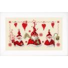 borduurpakket drie kerstmannen met cadeautje, sjaal en lantaarn