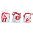 borduurpakket kruidenzakje (3 st.) herten en ijskristallen op wit