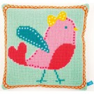 kruissteekkussen lief!, roze vogel