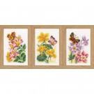 borduurpakket bloemen met vlinders drieluik