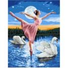stramien + garenpakket, ballerina op zwanenmeer