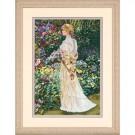 borduurpakket dame in bloementuin