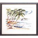 borduurpakket palmbomen aan het strand