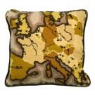 halve kruissteekkussen landkaart in sepia